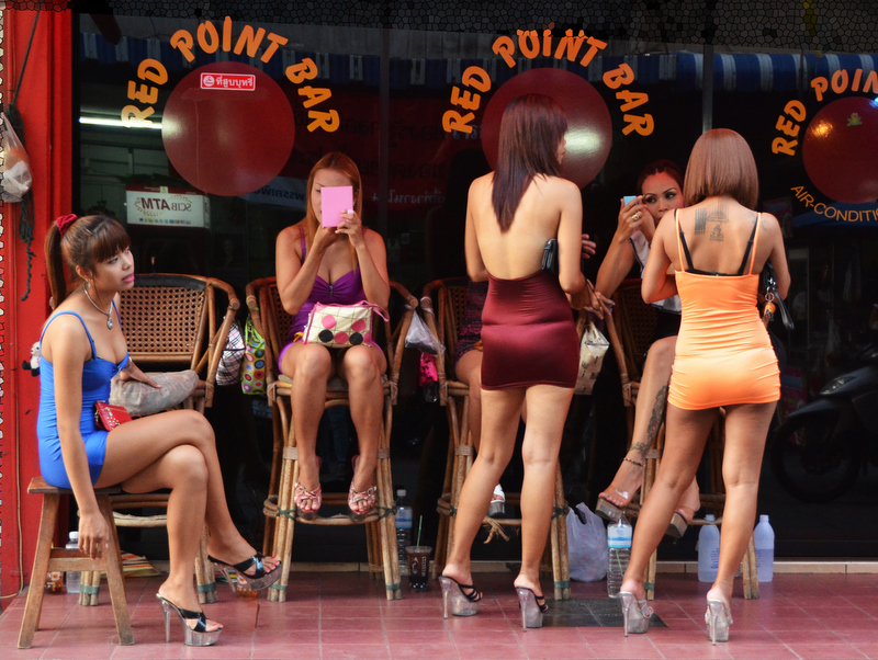 Bar girls waiting for customers